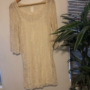 Luck Brand Off White Lace Dress